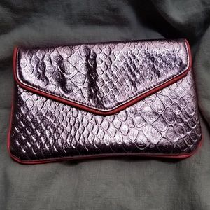 Deux Lux Metallic Pink Reptile Embossed Clutch